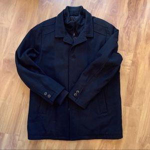 Men's London Fog Black Wool Coat Size Large